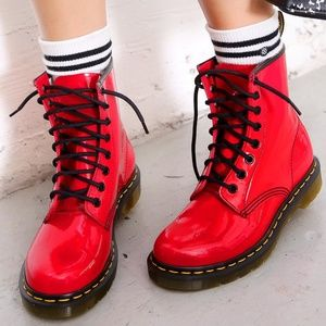 Dr. Martens Red Patent Leather Boots
